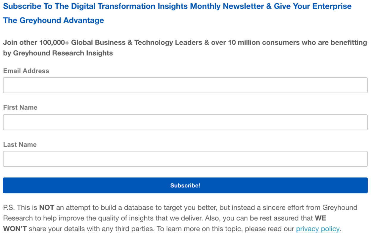 Subscribe To Digital Transformation Newsletter: Sent Monthly
