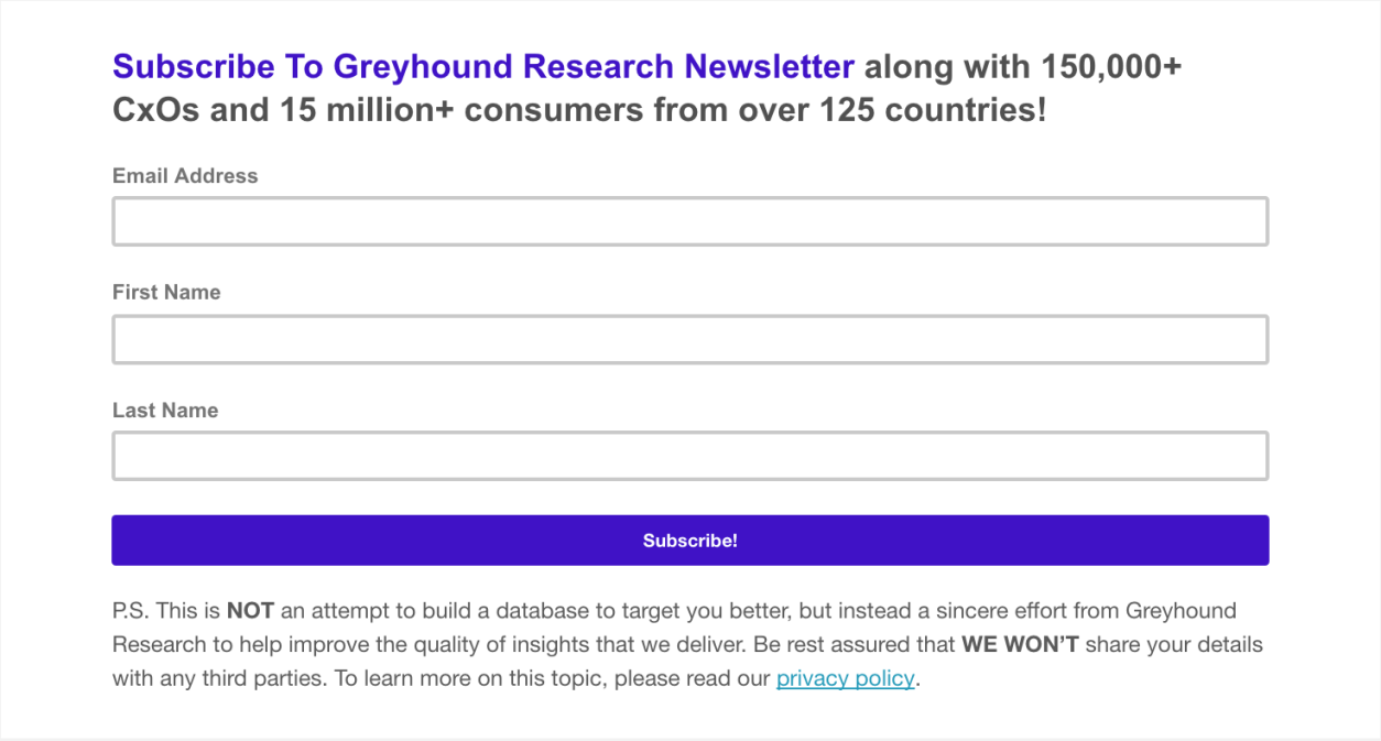 Subscribe To Greyhound Research Newsletter